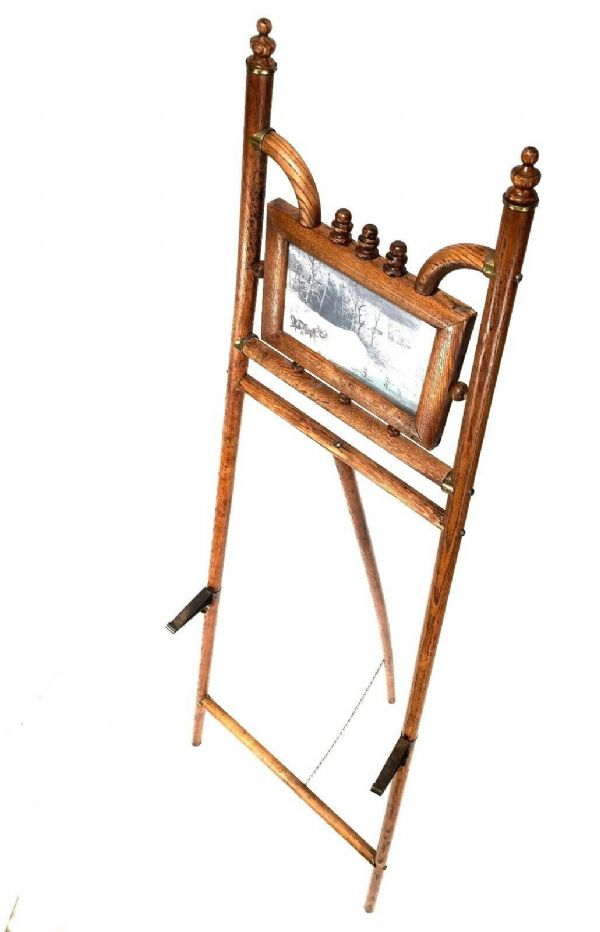 Antique Wooden Oak Picture Easel / Stand / Painting Holder / Brass Hardware